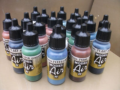 VALLEJO MODEL AIR ACRYLIC AIRBRUSH PAINTS CHOOSE 7 x 17ml INCLUDING 2017 COLOURS