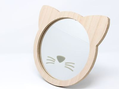 Wooden Cat Face Children's Wall Mirror Nursery 23cm