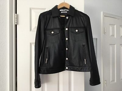 black leather bomber jacket for women from Tommy Hilfiger size small petite
