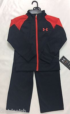 Under Armour BOY'S 2 Piece Set Sweat Pants Jacket Black Red YOUTH Size 4