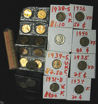 Lot of USA Lincoln Wheaties Buffalo Nickels 1963-D x10 sealed, 1941 50 roll
