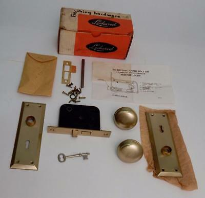 Vintage NOS Lockwood Madison Inside Lockset Dull Brass Door Knobs Plates in Box