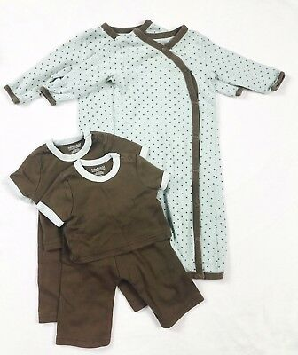 Restoration Hardware Baby Lot 6 Items 2 Gowns Pant Shirt Sets 0-3 3-6 Green Dot
