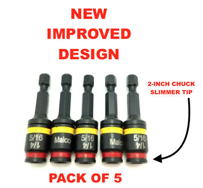 Pack of 5 Malco Dual-Sided Reversible Hex Nut Magnetic Driver MSHC 1/4 5/16 Flip