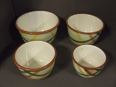 "Set Of 4 Vintage Vernonware Pottery Homespun Nesting Bowl 5"" 6"" 7"" 8"""