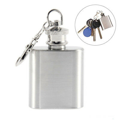 1 oz Flask Mini Stainless Steel Screw Cap Pocket Keychain Key Ring Liquor Small