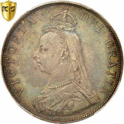 [#415991] Great Britain, Victoria, Double Florin, 1887, PCGS, AU55, AU(55-58)