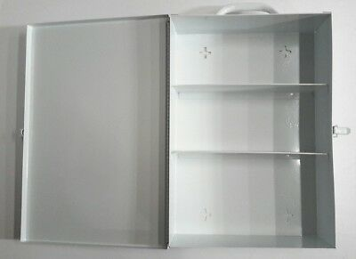 "First Aid Kit Metal Wall Mount Box Medical Large Empty White Emergency 14.5""×10"""
