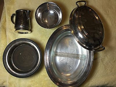 Lot of Vintage Silverplate Serving Bowls and mug. Wear brite, gorham, fb rogers