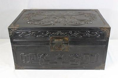 Large Chinese Zitan Wood Storage Chest, Bat Design.