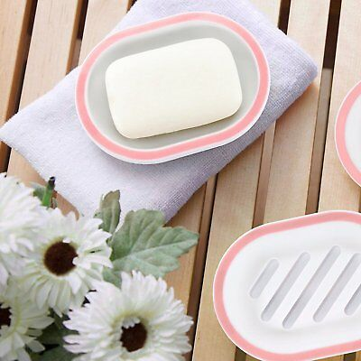 Soap Case BliGli Soap Dish Box Holder With Drain for Baths, Pink White 2 Pack