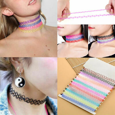 12PCS Vintage Stretch Tattoo Choker Necklace Punk Retro Gothic Elastic Pendant