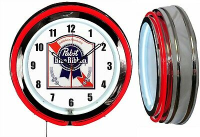 """Pabst Blue Ribbon PBR Beer 19"""" Double Neon Clock Chrome or Carbon Fiber Finish"""
