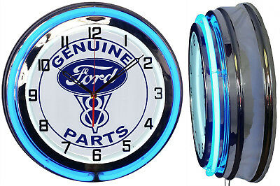 """19"""" Double Neon Clock Ford V8 Genuine Parts Sign Chrome or Carbon Fiber"""