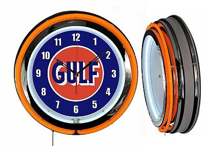 "GULF OIL NEW STYLE LOGO 19/"" Double Neon Clock Man Cave Garage Shop Gasoline Gas"