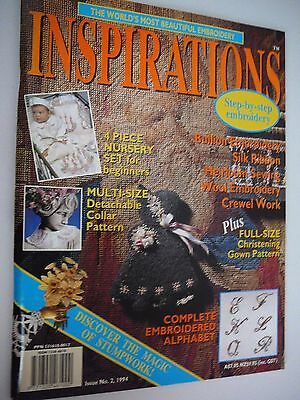 Inspirations Embroidery Magazine #2 1994 Bullion Silk Ribbon Christening Gown