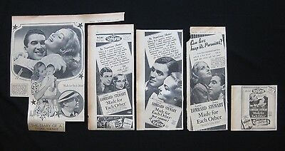 MADE FOR EACH OTHER 1939 Original movie advertising James Stewart Carole Lombard