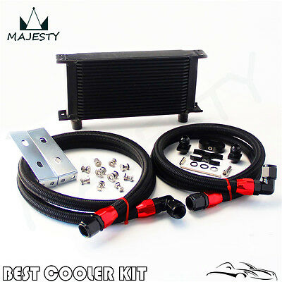 19 Row AN10 Oil Cooler Kit For BMW E36 E46 E82 E90 E92 E93 Black