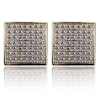 695b9b8df 18k Gold 10MM ICED OUT Lab Diamond Micropave Square Stud Hip Hop AAA  Earring Men