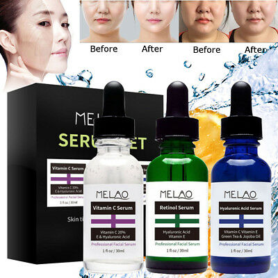 3Pc Vitamin C Serum for face w/ Hyaluronic Acid - for Derma Micro Needle Roller