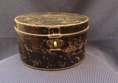 Vintage Military Metal Hat Box Antique Early 20th Tin Round