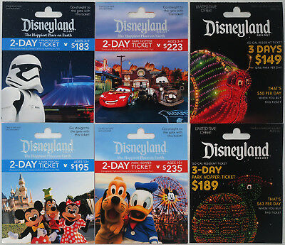 6 Different DISNEYLAND Passport Gift Cards 2017 Mint Main St. Electrical Parade+