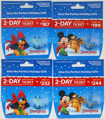 All 4 Different Disneyland Holiday Passport Gift Cards 2017: Mickey & Pluto Mint
