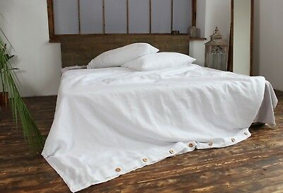 Natural Linen Duvet Cover with Wooden Buttons - King, Queen, Twin, Full Sizes