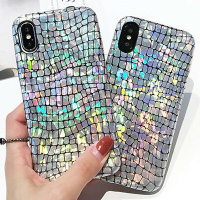 3D Ray Glitter Leather Grain SHOCKPROOF Silicone Case Cover for iPhone X 8 Plus