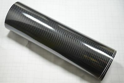 300mm x 1520mm 8DM Carbon Fibre Vinyl Wrap (Air/Bubble Free) Black Gloss