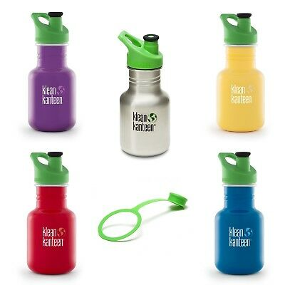 Kid Klean Kanteen 12oz Stainless Steel drinks bottle Sports Cap + free dust cap