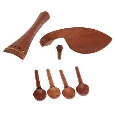4/4 Violin Parts Pegs Tailpiece Chinrest Endpin Jujube Wood Material Brown