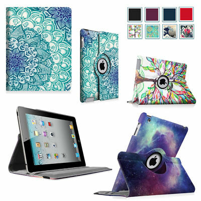 For iPad 2/3/4 Rotating Pattern Slim Case Stand Cover with Auto Wake/Sleep