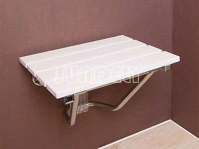 Fast Folding Wall Mounted Shower Seat Wooden Chair Foldaway Disabled Mobility