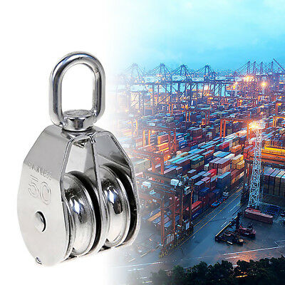M15 304 Stainless Steel Double Wheel Swivel Pulley Block Lifting Rope Silver