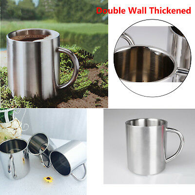 Double Wall Thickened Stainless Steel COFFEE CUP Tea Mug Durable Anti-Heat A+