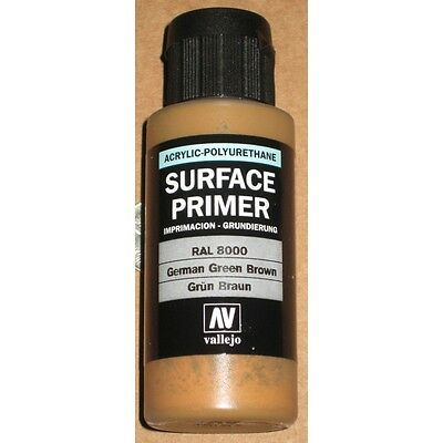 VAL73606 Vallejo Acrylic Polyurethane Primer German Green Brown RAL 8000 60ml