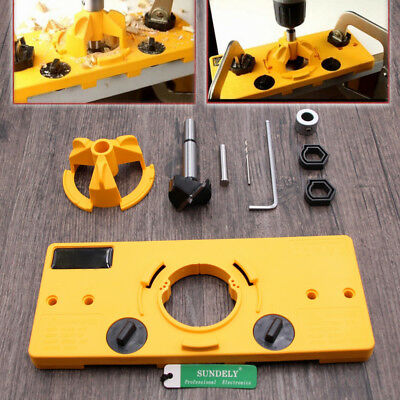 35MM Cup Style Hinge Boring Jig Drill Set Guide Door Hole Locator Tool FAST