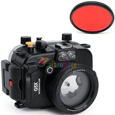 Meikon 40m/130ft Waterproof Diving Housing Case Cover For Canon G5X Camera【AU】