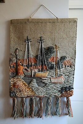 vintage hand made wool jute art boats harbour wall hanging tapestry Crewel work