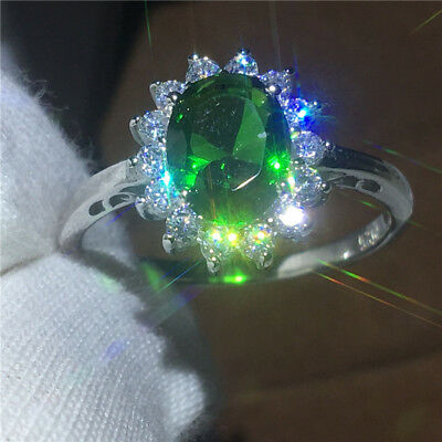 Fine Jewelry Soild 925 sterling silver 2ct Emerald Cz Diana Wedding Band Ring