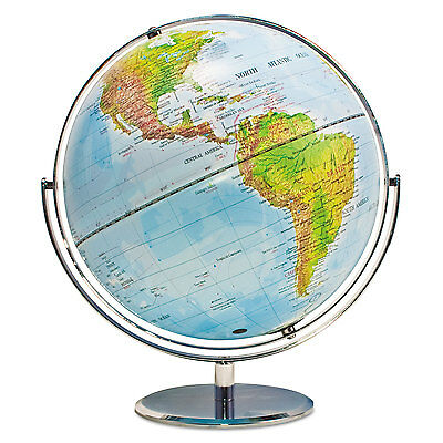 Advantus 12-Inch Globe with Blue Oceans Silver-Toned Metal Desktop Base
