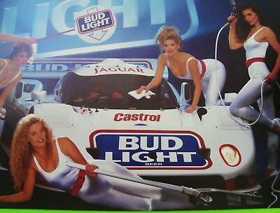 1991 IMSA JAGUAR GTP RACE CAR POSTER w/ HOT BABES Bud Light BUDWEISER Xlnt