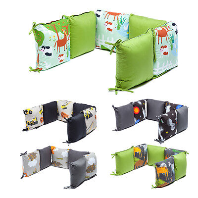 Character Print Nursery Baby Crib Cot Bed Bumper Cushions Set Bedding Pillows