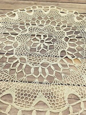 """#105 Vintage Hand Crocheted Doily Off White 16"""" Centerpiece Doilies"""