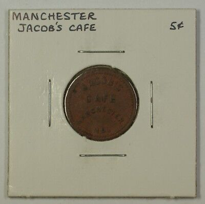Early 20th Century 5c Trade Token Jacob's Cafe Carroll Co. Manchester MD S-J-5