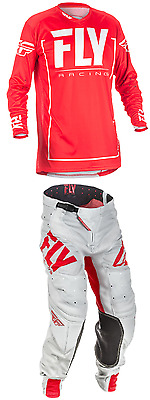 2018 Fly Racing LITE MX ATV Pant and Jersey Combo - Red/Grey