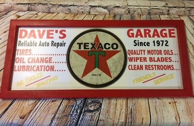 Personalized Vintage Style Filling Station Sign w/ Texaco Star Gas Oil round tin