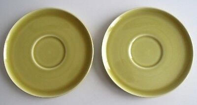 """2 Russel Wright American Modern Chartreuse Saucers 6"""" Steubenville"""