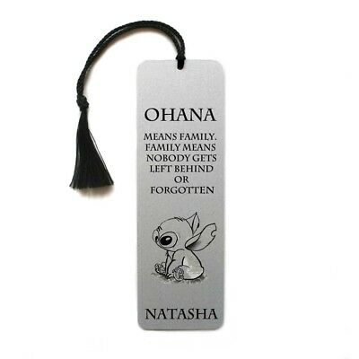 Disney Lilo and Stitch Ohana quote Personalised metal bookmark with tassel gift